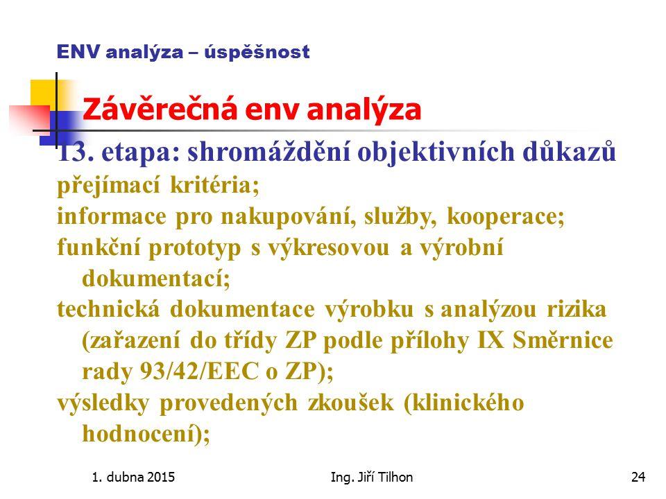 1. dubna 2015Ing. Jiří Tilhon24 ENV analýza – úspěšnost Závěrečná env analýza 13. etapa: shromáždění objektivních důkazů přejímací kritéria; informace
