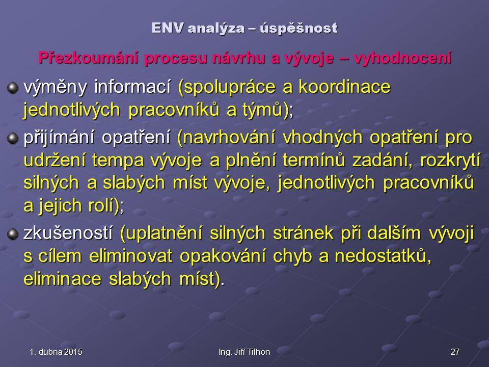 271. dubna 20151. dubna 20151. dubna 2015Ing. Jiří Tilhon ENV analýza – úspěšnost výměny informací (spolupráce a koordinace jednotlivých pracovníků a