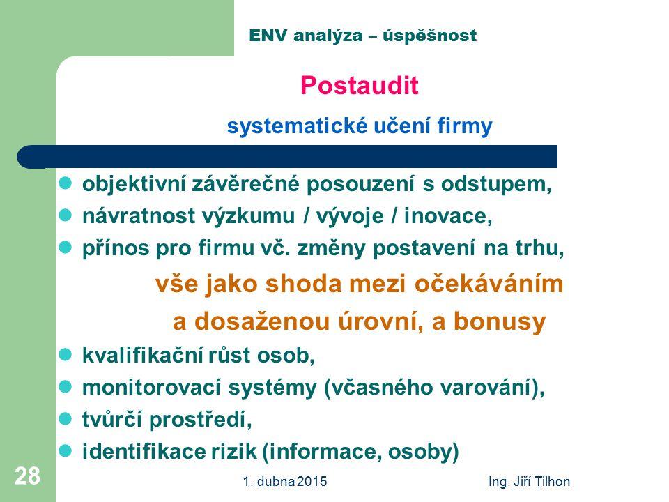 1. dubna 2015Ing. Jiří Tilhon 28 ENV analýza – úspěšnost Postaudit systematické učení firmy objektivní závěrečné posouzení s odstupem, návratnost výzk