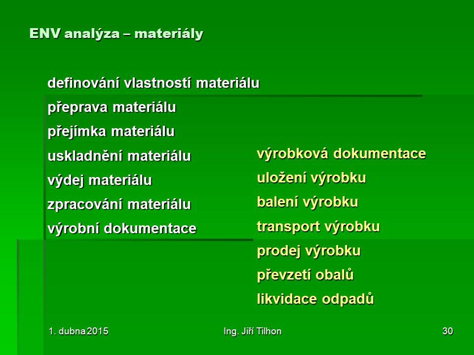 ENV analýza – materiály definování vlastností materiálu přeprava materiálu přejímka materiálu uskladnění materiálu výdej materiálu zpracování materiálu výrobní dokumentace 1.