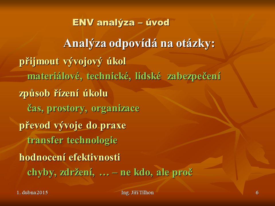 1. dubna 20151. dubna 20151. dubna 2015Ing. Jiří Tilhon6 ENV analýza – úvod Analýza odpovídá na otázky: přijmout vývojový úkol materiálové, technické,