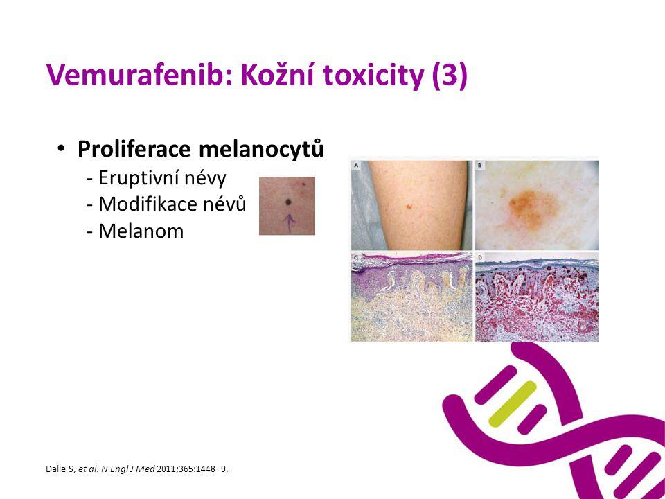 Vemurafenib: Kožní toxicity (3) Proliferace melanocytů - Eruptivní névy - Modifikace névů - Melanom Dalle S, et al. N Engl J Med 2011;365:1448–9.