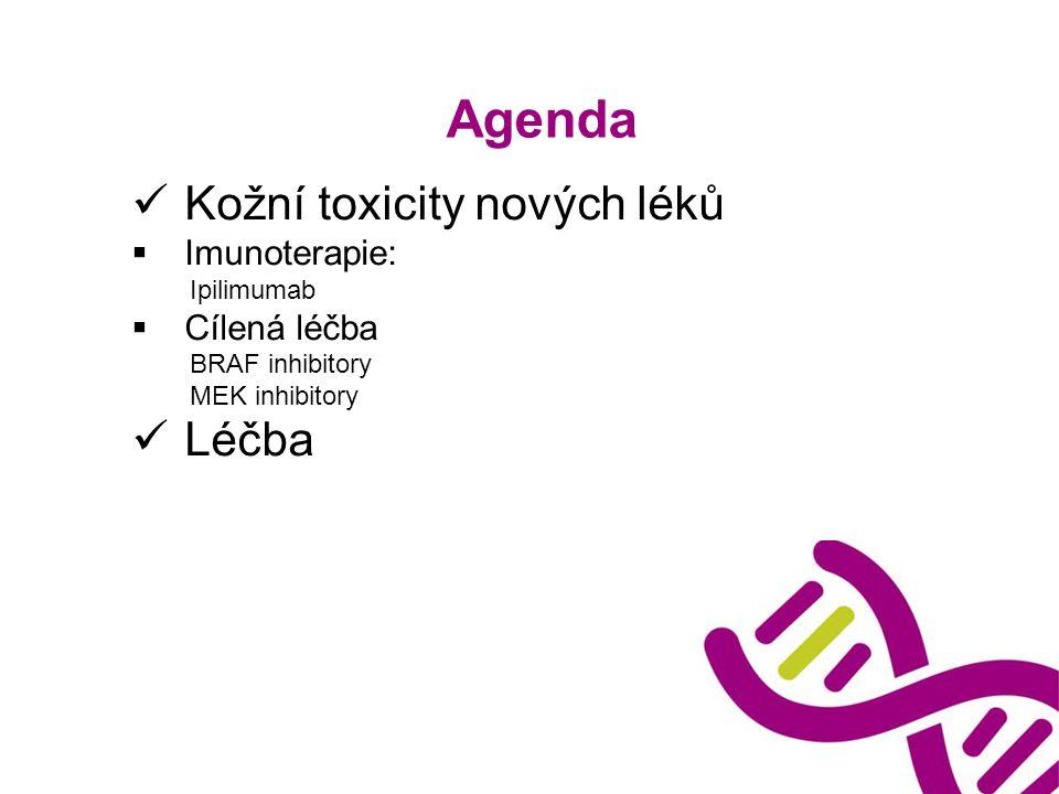 Agenda Kožní toxicity nových léků  Imunoterapie: Ipilimumab  Cílená léčba BRAF inhibitory MEK inhibitory Léčba