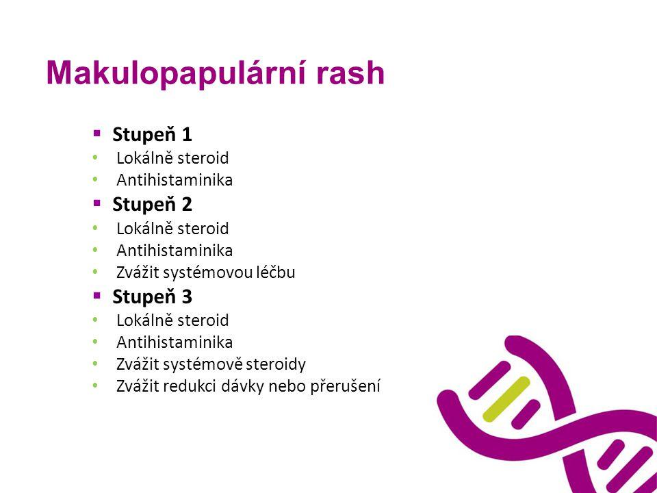 Makulopapulární rash  Stupeň 1 Lokálně steroid Antihistaminika  Stupeň 2 Lokálně steroid Antihistaminika Zvážit systémovou léčbu  Stupeň 3 Lokálně
