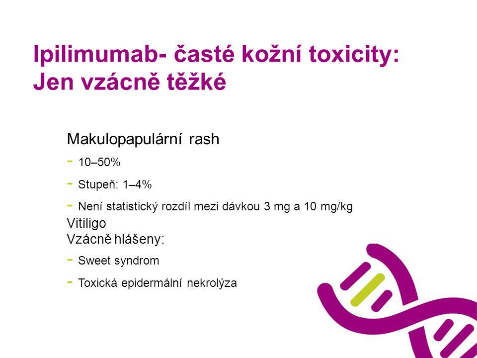 Ipilimumab- časté kožní toxicity: Jen vzácně těžké Makulopapulární rash - 10–50% - Stupeň: 1–4% - Není statistický rozdíl mezi dávkou 3 mg a 10 mg/kg