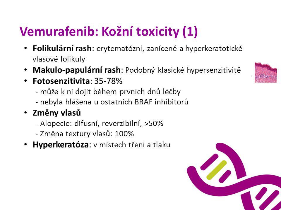 Vemurafenib: Kožní toxicity (1) Folikulární rash: erytematózní, zanícené a hyperkeratotické vlasové folikuly Makulo-papulární rash: Podobný klasické h