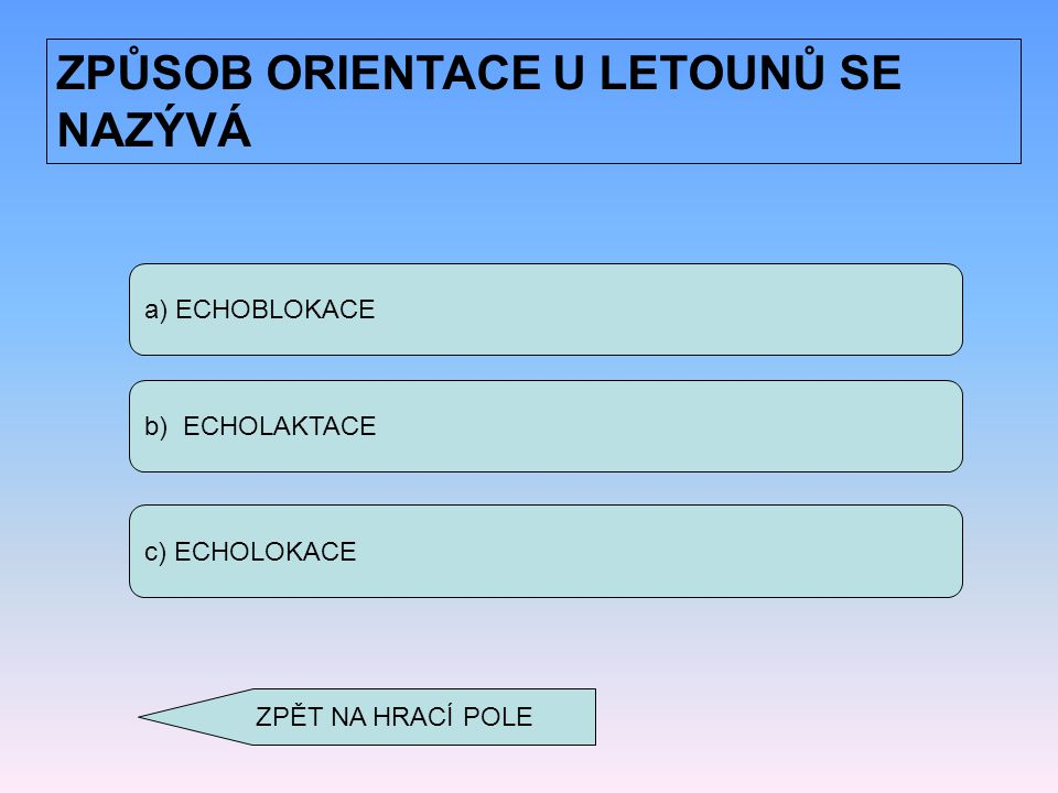 a) ECHOBLOKACE b) ECHOLAKTACE c) ECHOLOKACE ZPŮSOB ORIENTACE U LETOUNŮ SE NAZÝVÁ ZPĚT NA HRACÍ POLE
