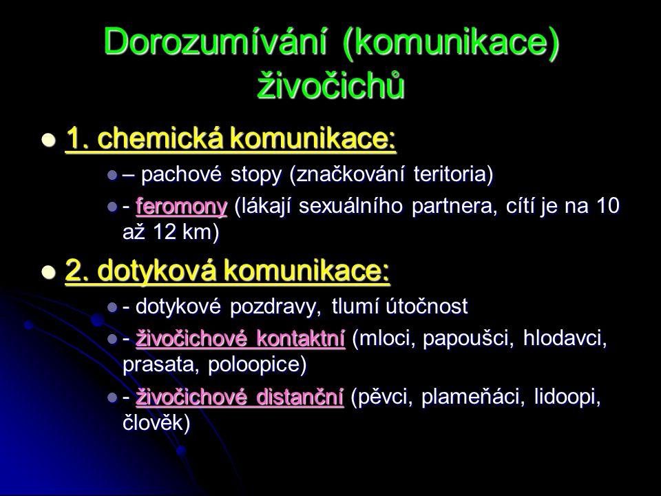 Dorozumívání (komunikace) živočichů 1. chemická komunikace: 1. chemická komunikace: – pachové stopy (značkování teritoria) – pachové stopy (značkování