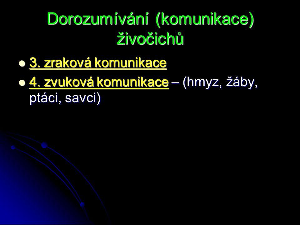 Dorozumívání (komunikace) živočichů 3. zraková komunikace 3. zraková komunikace 4. zvuková komunikace – (hmyz, žáby, ptáci, savci) 4. zvuková komunika
