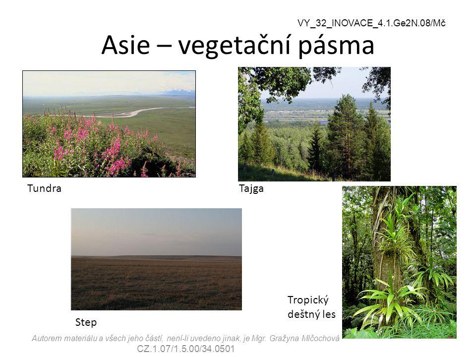 VY_32_INOVACE_4.1.Ge2N.08/Mč Asie – vegetační pásma TundraTajga Step Tropický deštný les Autorem materiálu a všech jeho částí, není-li uvedeno jinak,