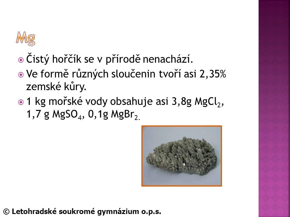  Čistý hořčík se v přírodě nenachází. Ve formě různých sloučenin tvoří asi 2,35% zemské kůry.