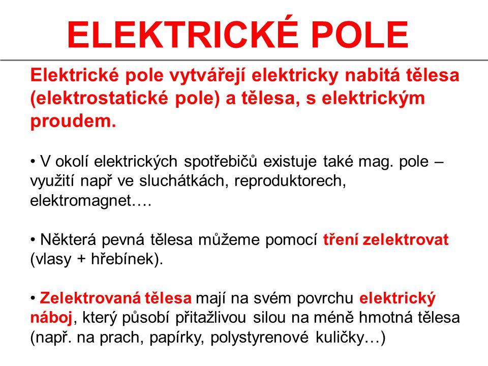 ELEKTRICKÉ POLE Elektrické pole vytvářejí elektricky nabitá tělesa (elektrostatické pole) a tělesa, s elektrickým proudem.