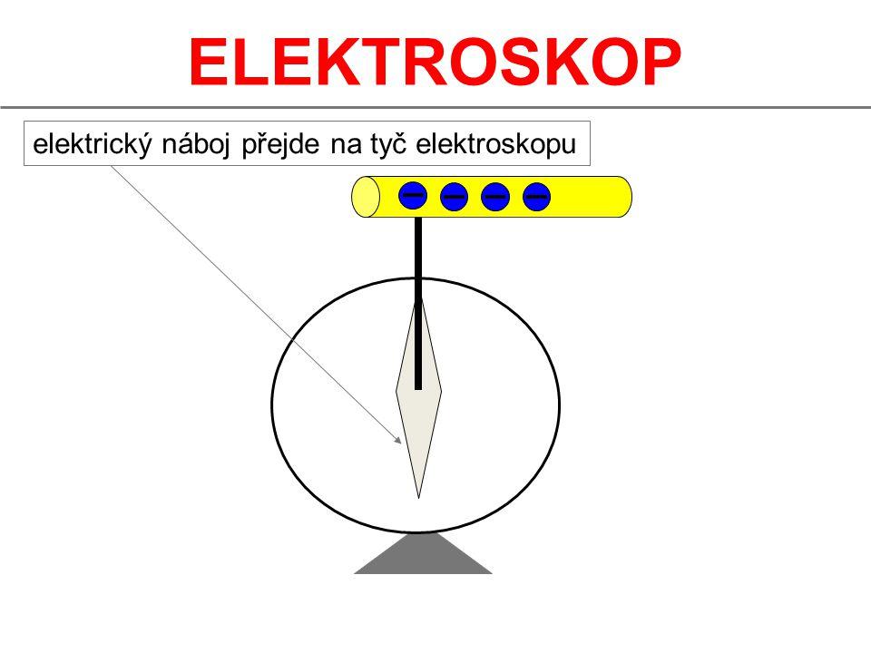 elektrický náboj přejde na tyč elektroskopu