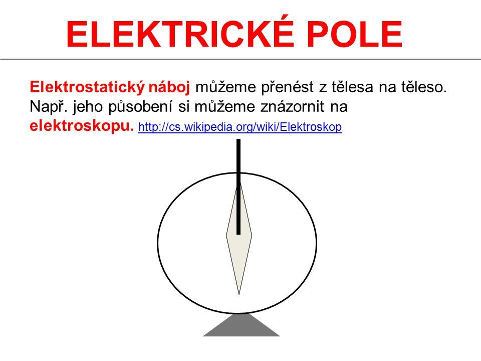 ELEKTRICKÉ POLE Elektrostatický náboj můžeme přenést z tělesa na těleso.