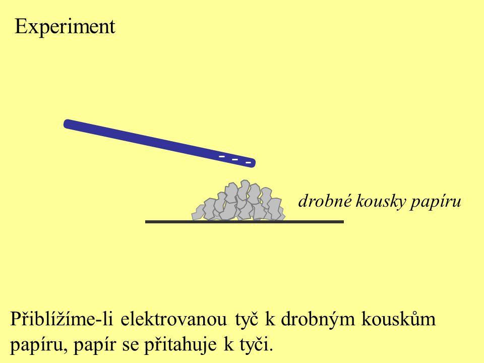 Přiblížíme-li elektrovanou tyč k drobným kouskům papíru, papír se přitahuje k tyči. drobné kousky papíru Experiment