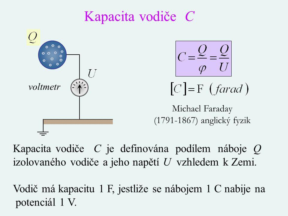Kapacita vodiče C je definována podílem náboje Q izolovaného vodiče a jeho napětí U vzhledem k Zemi. Vodič má kapacitu 1 F, jestliže se nábojem 1 C na