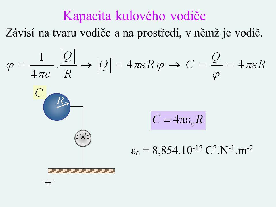 Kapacita kulového vodiče Závisí na tvaru vodiče a na prostředí, v němž je vodič.  0 = 8,854.10 -12 C 2.N -1.m -2