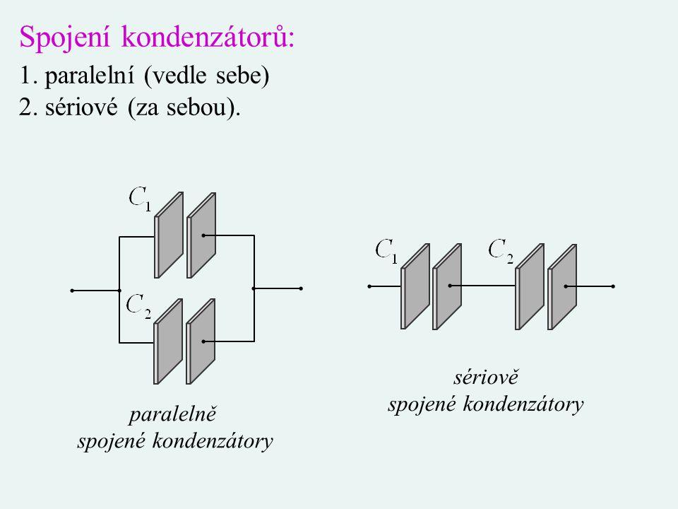 Spojení kondenzátorů: 1. paralelní (vedle sebe) 2. sériové (za sebou). paralelně spojené kondenzátory sériově spojené kondenzátory