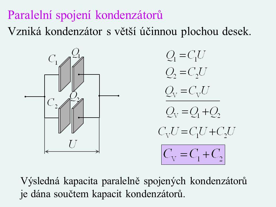 Paralelní spojení kondenzátorů Vzniká kondenzátor s větší účinnou plochou desek. Výsledná kapacita paralelně spojených kondenzátorů je dána součtem ka