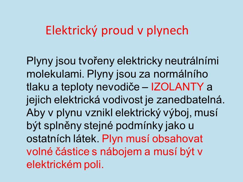 Elektrický proud v plynech Plyny jsou tvořeny elektricky neutrálními molekulami.