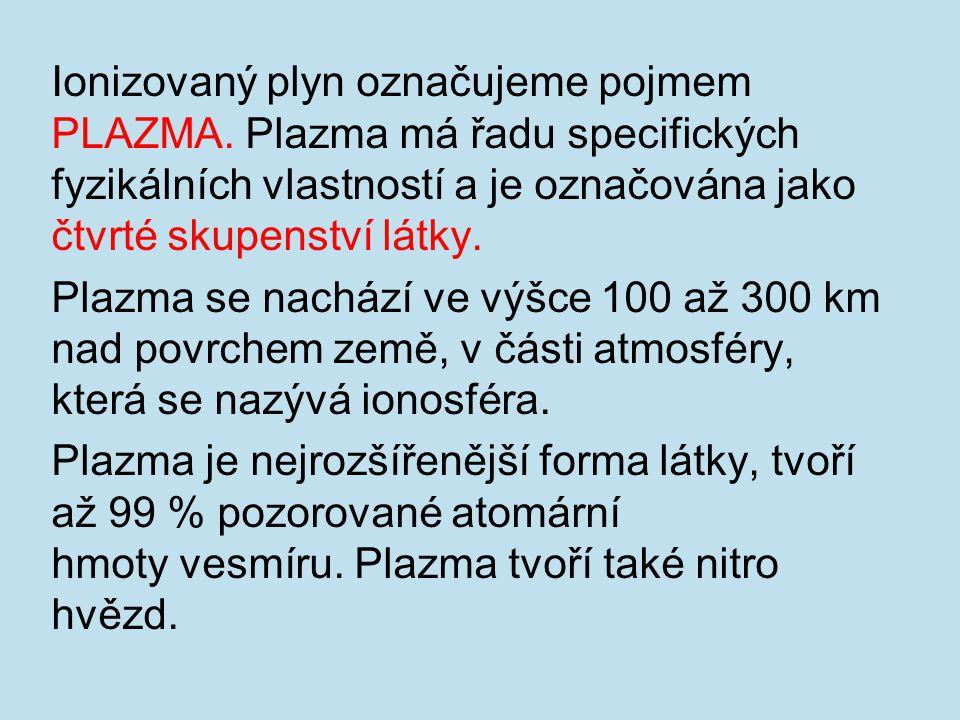 Ionizovaný plyn označujeme pojmem PLAZMA.