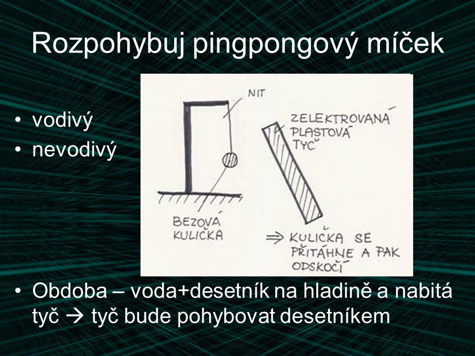 Rozpohybuj pingpongový míček vodivý nevodivý Obdoba – voda+desetník na hladině a nabitá tyč  tyč bude pohybovat desetníkem