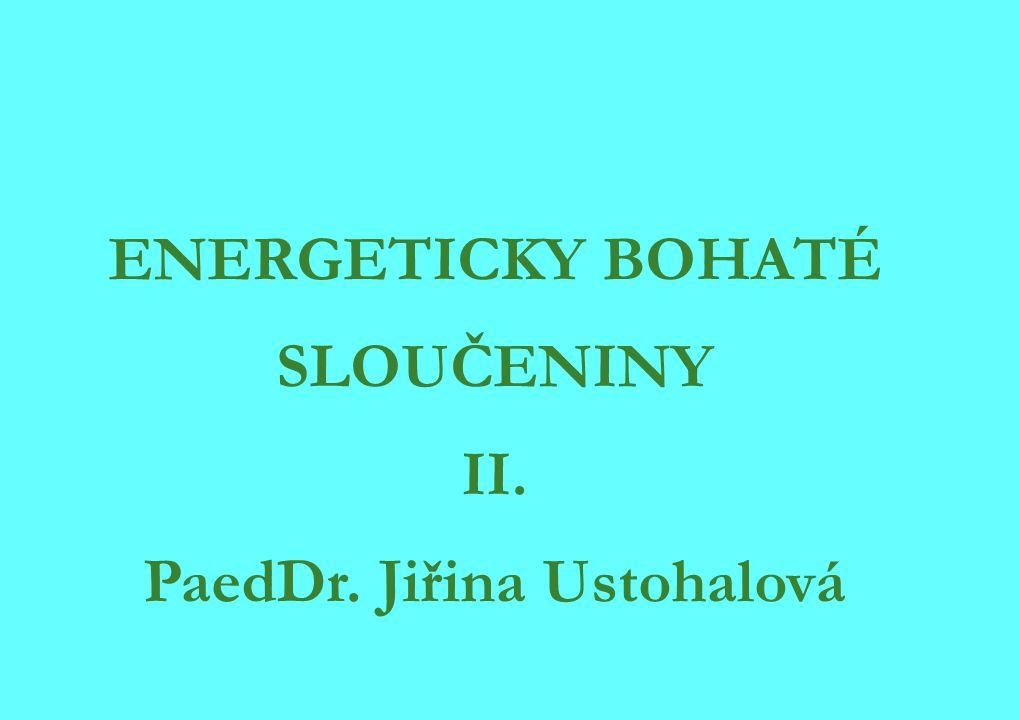 ENERGETICKY BOHATÉ SLOUČENINY II. PaedDr. Jiřina Ustohalová