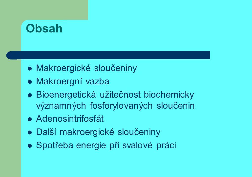 Obsah Makroergické sloučeniny Makroergní vazba Bioenergetická užitečnost biochemicky významných fosforylovaných sloučenin Adenosintrifosfát Další makr
