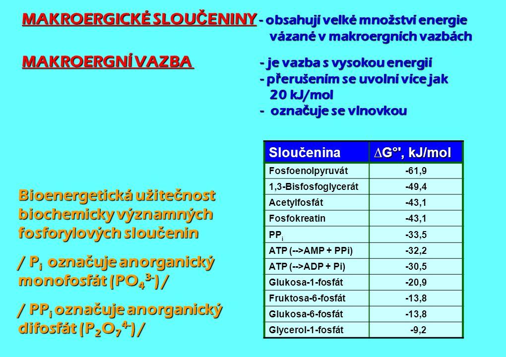 MAKROERGICKÉ SLOU Č ENINY - obsahují velké množství energie vázané v makroergních vazbách MAKROERGNÍ VAZBA - je vazba s vysokou energií - p ř erušením