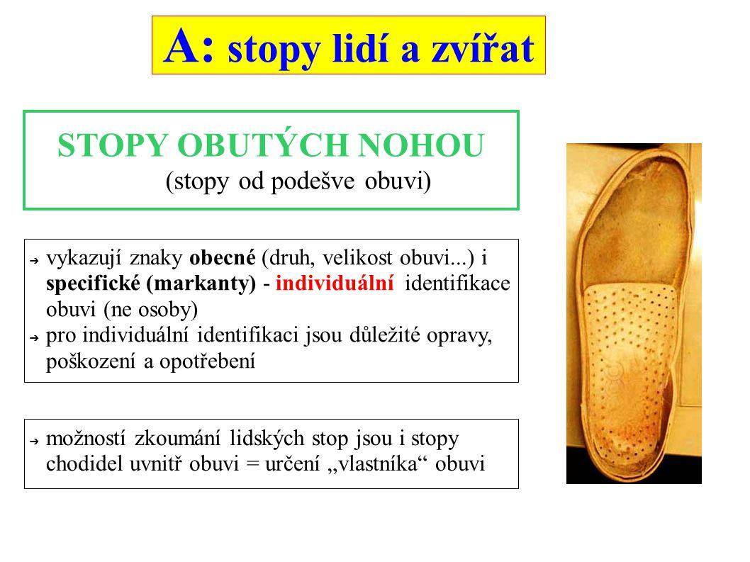 """A: stopy lidí a zvířat STOPY OBUTÝCH NOHOU (stopy od podešve obuvi) ➔ vykazují znaky obecné (druh, velikost obuvi...) i specifické (markanty) - individuální identifikace obuvi (ne osoby) ➔ pro individuální identifikaci jsou důležité opravy, poškození a opotřebení ➔ možností zkoumání lidských stop jsou i stopy chodidel uvnitř obuvi = určení """"vlastníka obuvi"""