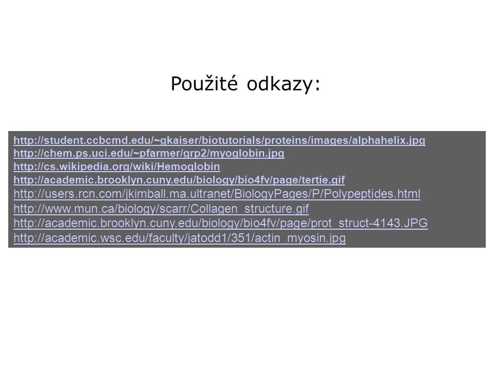 Použité odkazy: http://student.ccbcmd.edu/~gkaiser/biotutorials/proteins/images/alphahelix.jpg http://chem.ps.uci.edu/~pfarmer/grp2/myoglobin.jpg http