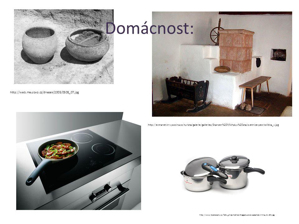 Domácnost: http://web.meulovo.cz/dnesek/2005/0508_07.jpg http://extranet.kr-vysocina.cz/turista/galerie/galleries/Skanzen%20Michaluv%20sta/svetnice-pec-kolibka_v.jpg http://www.toprecepty.cz/fotky_shop/nahled/mageplus-bio-sada-tlak--hrncu-4---6lt.jpg