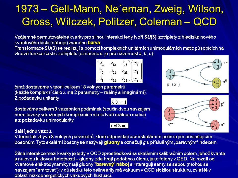 1973 – Gell-Mann, Ne´eman, Zweig, Wilson, Gross, Wilczek, Politzer, Coleman – QCD Vzájemně permutovatelné kvarky pro silnou interakci tedy tvoří SU(3)