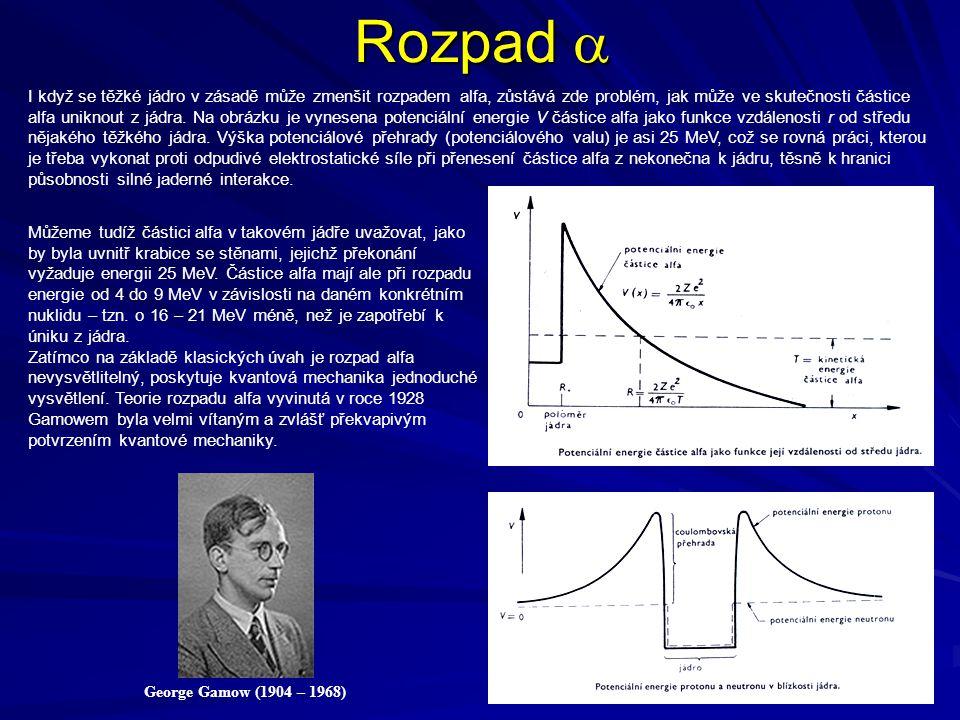 Rozpad  George Gamow (1904 – 1968) I když se těžké jádro v zásadě může zmenšit rozpadem alfa, zůstává zde problém, jak může ve skutečnosti částice al