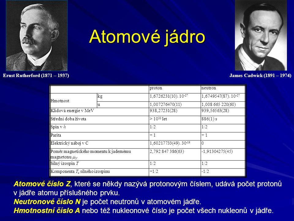 Atomové jádro protonneutron Hmotnost kg1,6726231(10). 10 -27 1,6749547(87). 10 -27 u1,007276470(11)1,008 665 220(60) Klidová energie v MeV938,27231(28