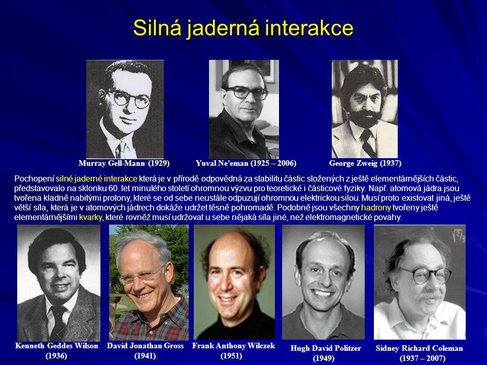 Silná jaderná interakce Murray Gell-Mann (1929) Yuval Ne'eman (1925 – 2006) George Zweig (1937) Kenneth Geddes Wilson David Jonathan Gross Frank Antho