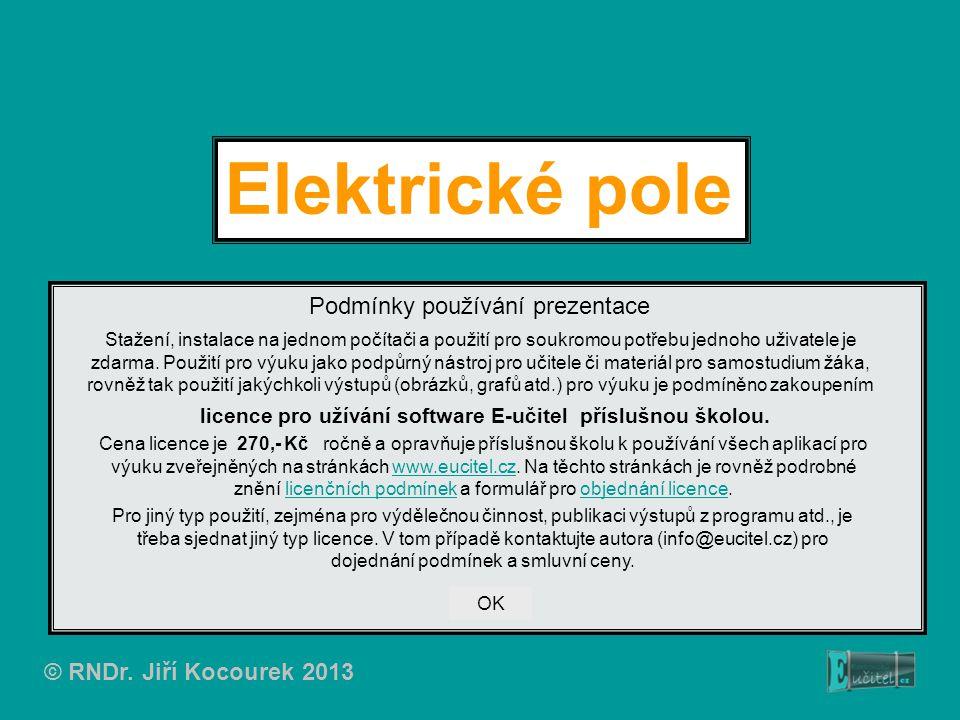 Elektrické pole Podmínky používání prezentace Stažení, instalace na jednom počítači a použití pro soukromou potřebu jednoho uživatele je zdarma. Použi