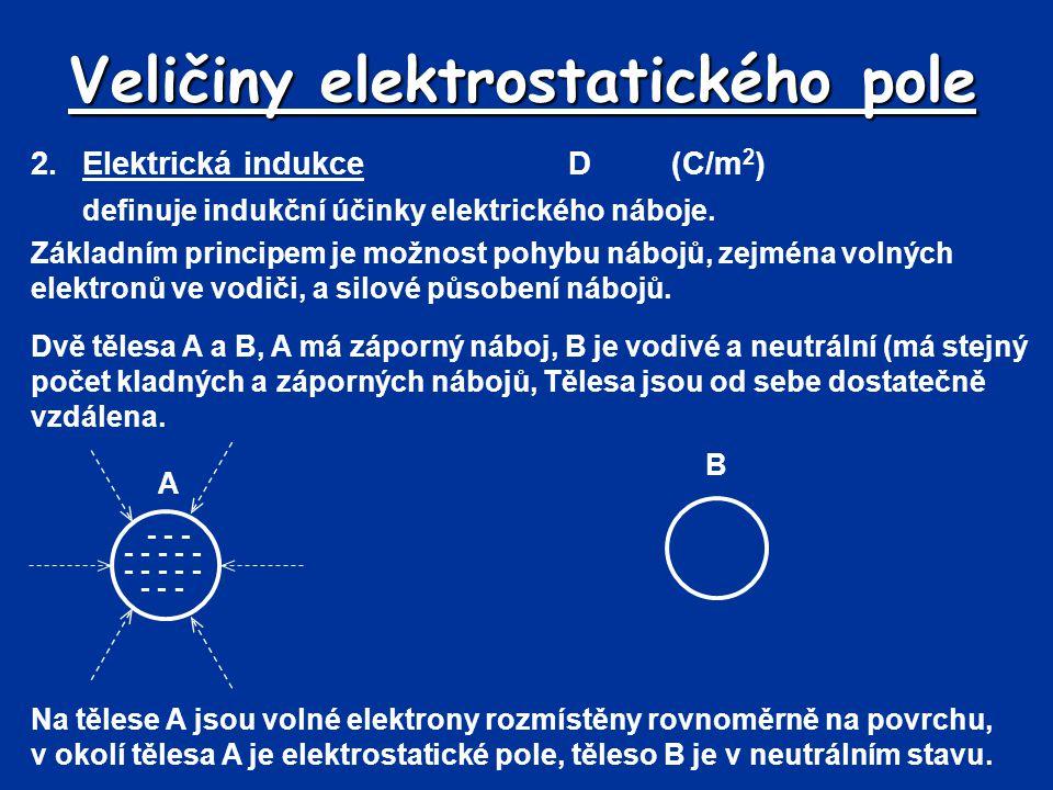 Veličiny elektrostatického pole 2.Elektrická indukceD(C/m 2 ) definuje indukční účinky elektrického náboje. Základním principem je možnost pohybu nábo