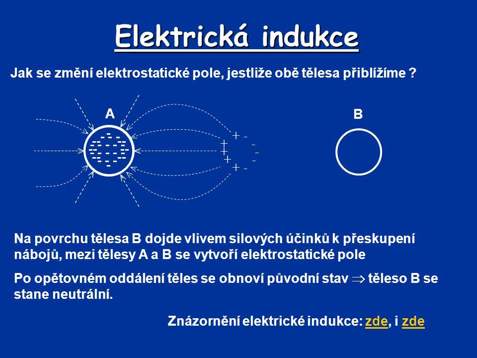 Elektrická indukce B Jak se změní elektrostatické pole, jestliže obě tělesa přiblížíme ? Na povrchu tělesa B dojde vlivem silových účinků k přeskupení