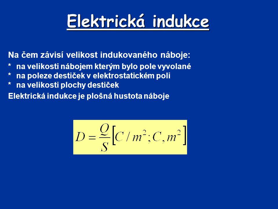 Elektrická indukce Na čem závisí velikost indukovaného náboje: *na velikosti nábojem kterým bylo pole vyvolané *na poleze destiček v elektrostatickém