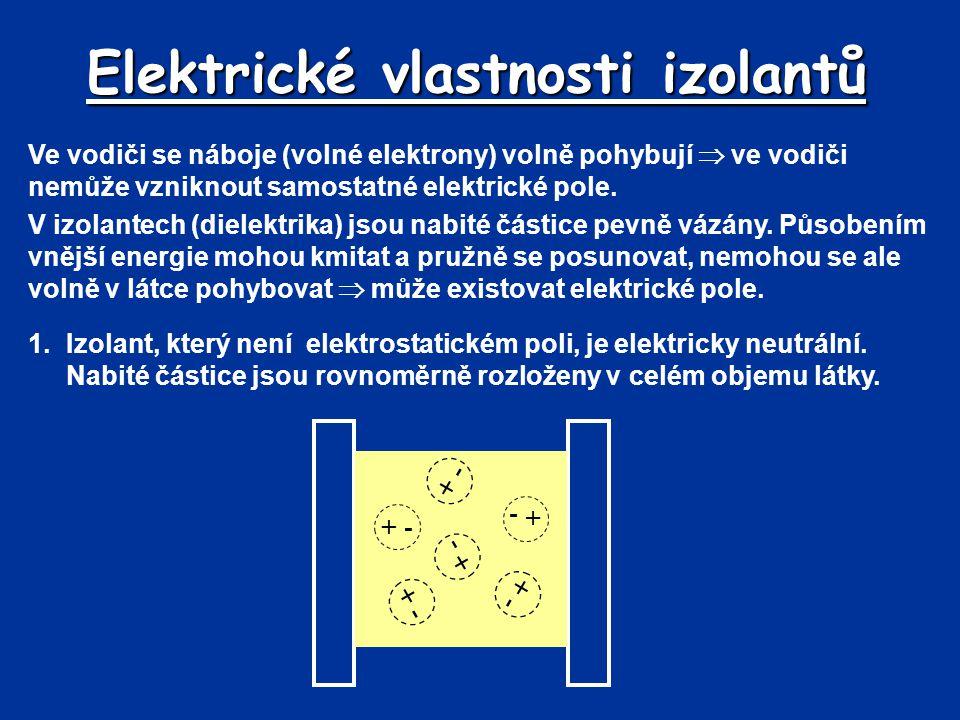 Elektrické vlastnosti izolantů Ve vodiči se náboje (volné elektrony) volně pohybují  ve vodiči nemůže vzniknout samostatné elektrické pole. V izolant