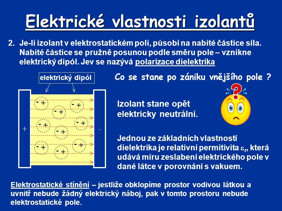 Elektrické vlastnosti izolantů 2.Je-li izolant v elektrostatickém poli, působí na nabité částice síla. Nabité částice se pružně posunou podle směru po
