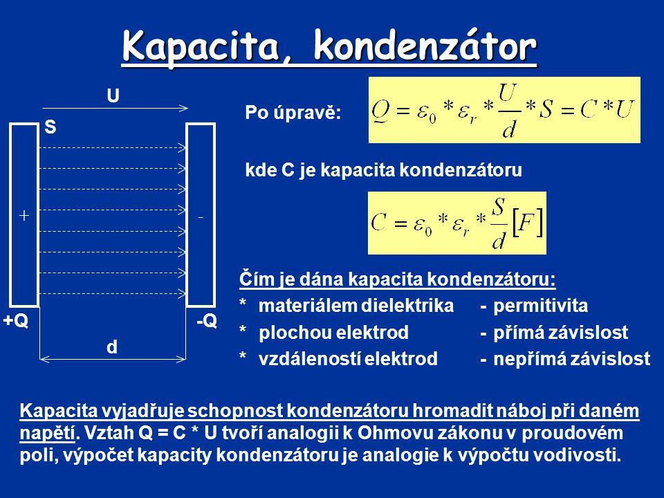 Kapacita, kondenzátor Po úpravě: +- +Q-Q d U S kde C je kapacita kondenzátoru Čím je dána kapacita kondenzátoru: *materiálem dielektrika-permitivita *