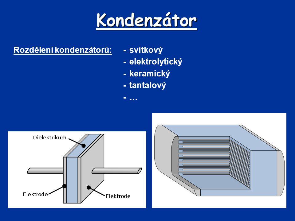 Kondenzátor Rozdělení kondenzátorů:-svitkový -elektrolytický -keramický -tantalový -…-…