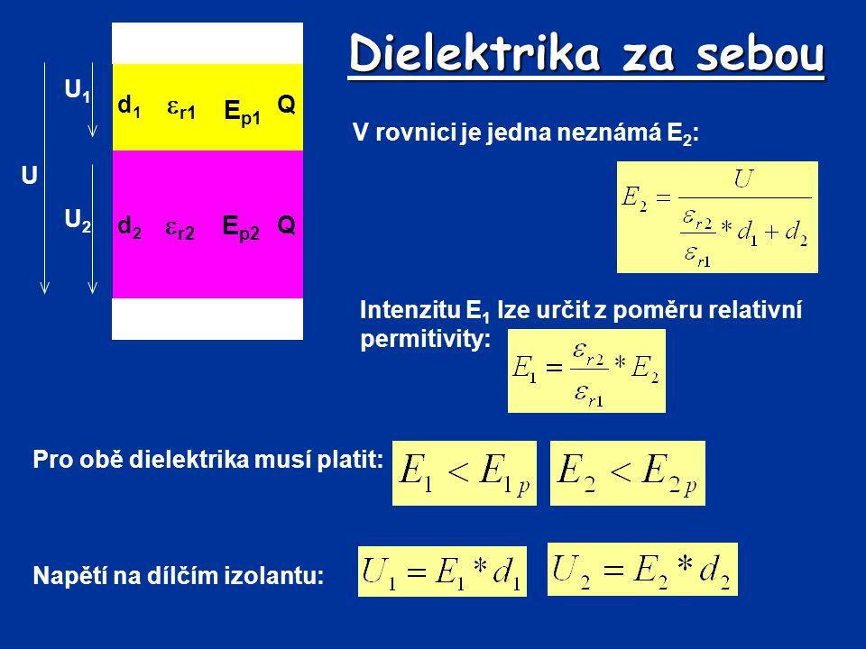 Dielektrika za sebou d1d1 Q U d2d2 Q  r1  r2 E p1 E p2 U2U2 U1U1 V rovnici je jedna neznámá E 2 : Intenzitu E 1 lze určit z poměru relativní permiti