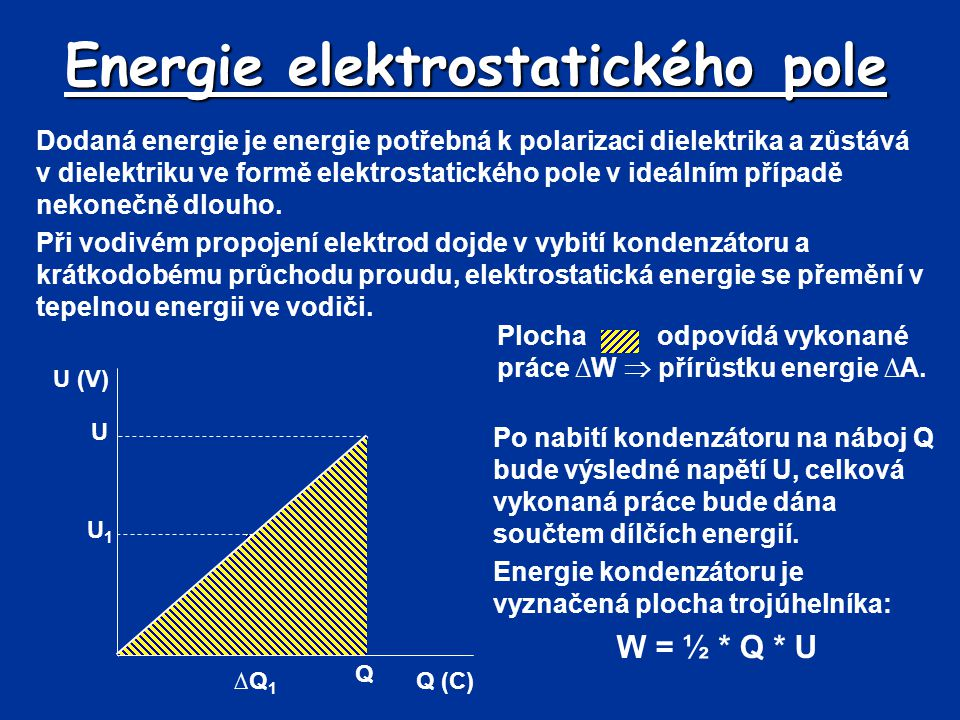 Energie elektrostatického pole Dodaná energie je energie potřebná k polarizaci dielektrika a zůstává v dielektriku ve formě elektrostatického pole v i