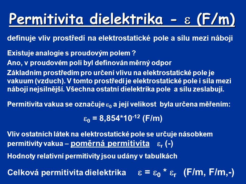 Dielektrika vedle sebe Příklad: Mezi elektrodami jsou paralelně dvě dielektrika, slída a sklo.