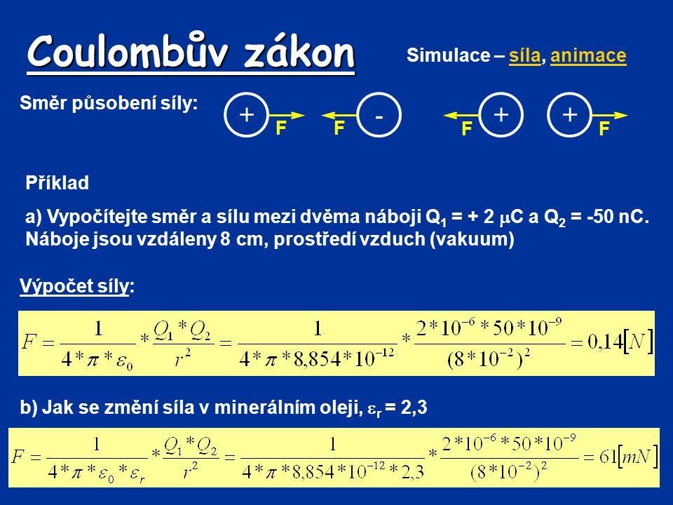 Coulombův zákon Příklad a) Vypočítejte směr a sílu mezi dvěma náboji Q 1 = + 2  C a Q 2 = -50 nC. Náboje jsou vzdáleny 8 cm, prostředí vzduch (vakuum