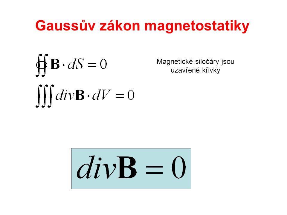 Neexistence magnetického monopólu Siločáry jsou vždy uzavřené - pole je nezřídlové div B = 0 [T]