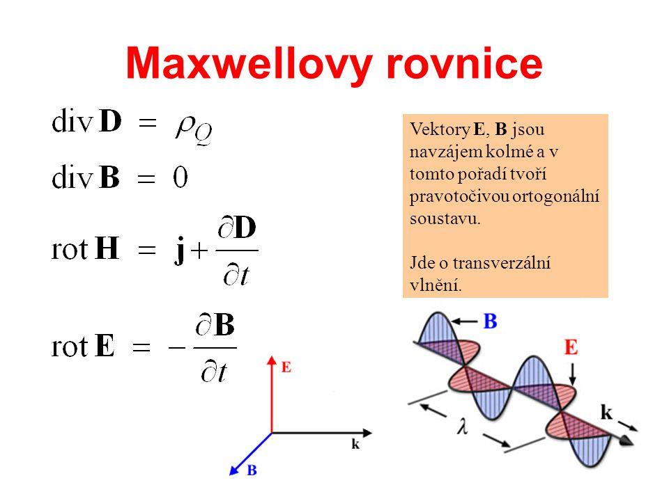 Maxwellovy rovnice Vektory E, B jsou navzájem kolmé a v tomto pořadí tvoří pravotočivou ortogonální soustavu. Jde o transverzální vlnění.